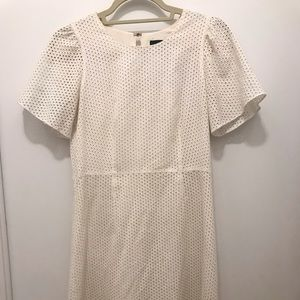 J. Crew White Dress with Subtle Polka Dot Detail